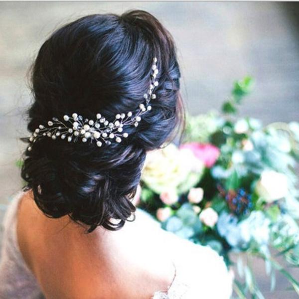 partyhairpiece, pearl jewelry, Bridal Jewelry, crystalhairband