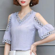 blouse, Summer, Fashion, topsforfemalevneckchiffon