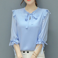 Korea fashion, Plus Size, ruffle, chiffon