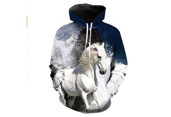 Lichenran White Nobel Horse Men 3D Print Pullover Hoodie Sweatshirt with Front Pocket