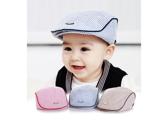 2pcs Baby Kids Boys Houndstooth Beret Cap Peaked Baseball Hats Casquette