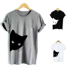 Summer, Loose, Cotton, Cotton T Shirt