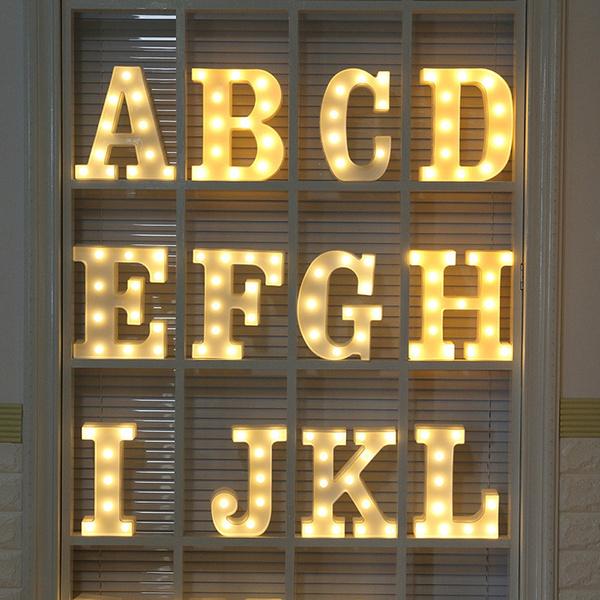 Alphabet LED Letters Lights Light Up White Plastic Letters Number Hanging Sign