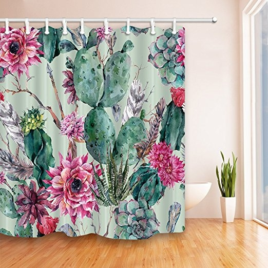 Bathroom, Flowers, Waterproof, Shower Curtains