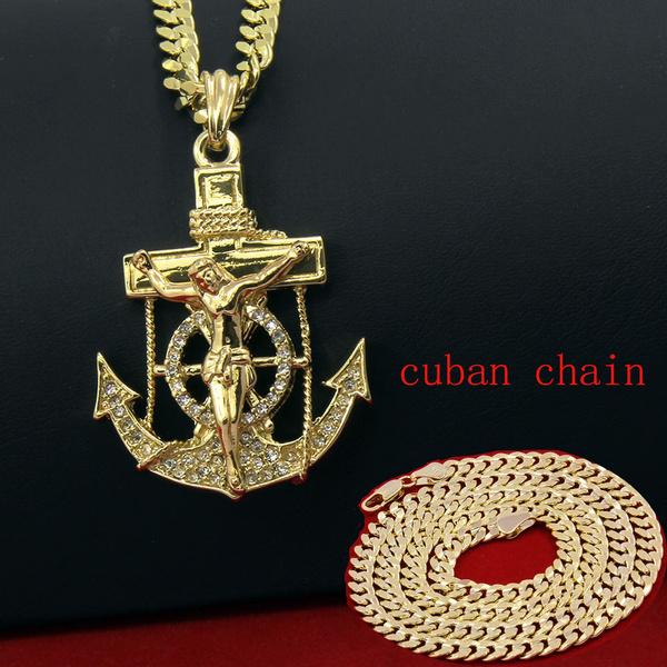 Cubic Zirconia, Men  Necklace, Jewelry, gold