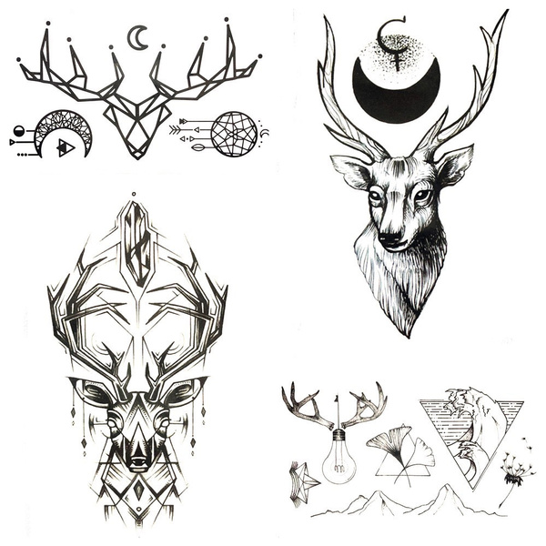 Black Geometric Elk Deer Temporary Tattoo Stickers Men Body Art Drawing Small Waterproof Tattoo Women Party Moose Horn Tatoos Wish