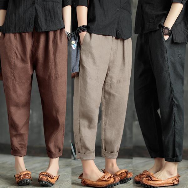 womenstrouser, plaincolor, cottonpant, Waist