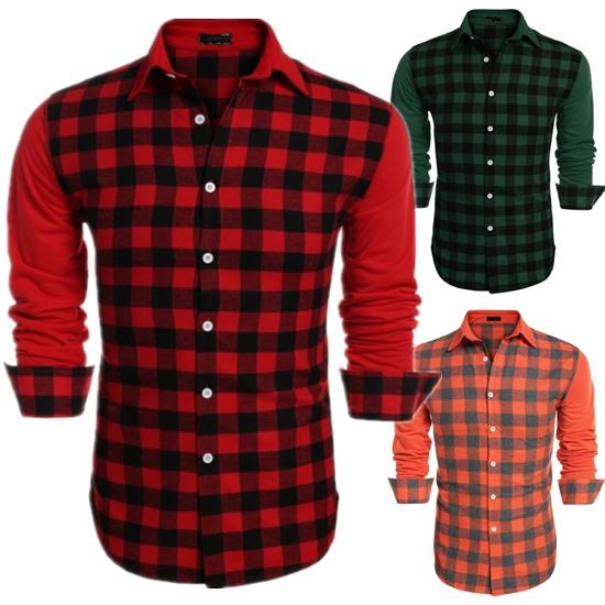 plaidpatchworkdesignshirt, Fashion, Shirt, Sleeve