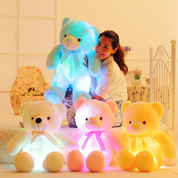 Cute Lamb Stuffed Animals, 50cm Creative Light Up Led Teddy Bear Stuffed Animals Plush Toy Colorful Glowing Teddy Bear Christmas Gift For Kids Pillow Toy Wish