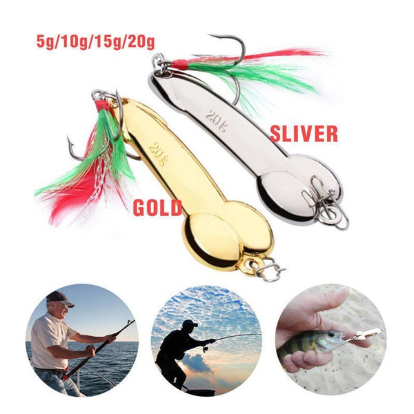 Penis Spoon Fishing Lure 5g-20g with Hook Gold//Silver Metal Bait Funny Tackle X1