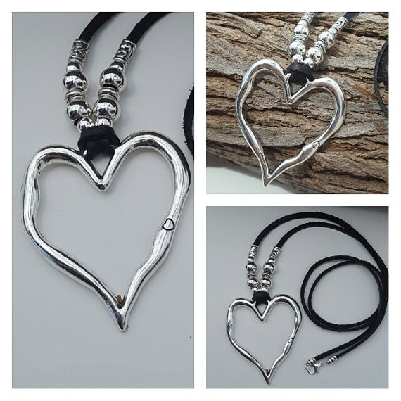 beadedwomannecklace, Heart, silverbibnecklace, Jewelry