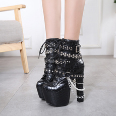 Goth, punk, blackboot, Women Boots
