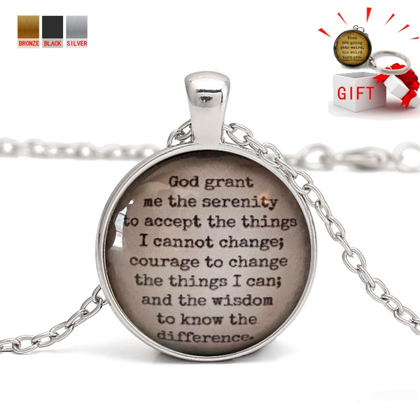 One Day At a Time God Grant Me The Serenity Prayer Keychain Addiction Recovery Gift
