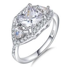 Beautiful, crystal ring, wedding ring, 925 silver rings