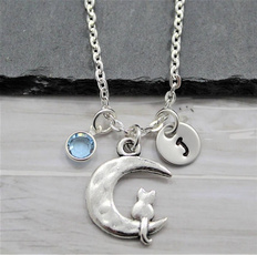 initial, Jewelry, Gifts, moonnecklace
