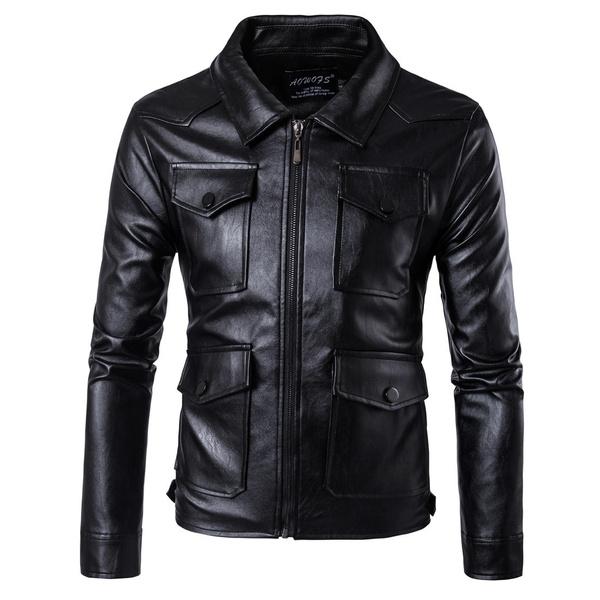 Turn-down Collar, Fashion, leather, Coat