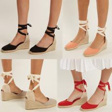 wedge, Fashion, Flats, shoelaces