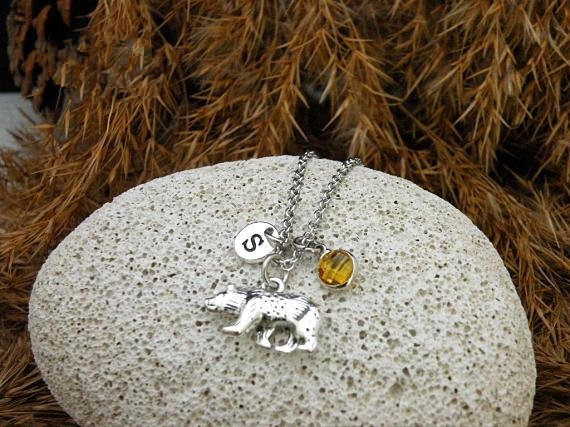 birthstonenecklace, Antique, bearnecklace, polarbearnecklace