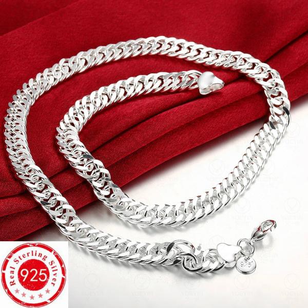 Sterling, Sideways, Silver Jewelry, Men  Necklace