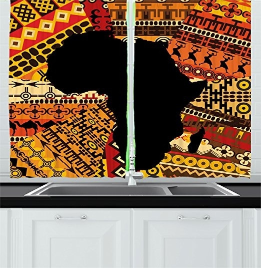 African Decor Kitchen Curtains By Abstract Art Style Africa Map On Ethnic Carpet Background Illustration Window Drapes 2 Panels Set For Kitchen Cafe Bathroom Shower Curtain Wish