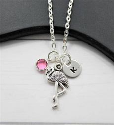 flamingo, Jewelry, Gifts, initial