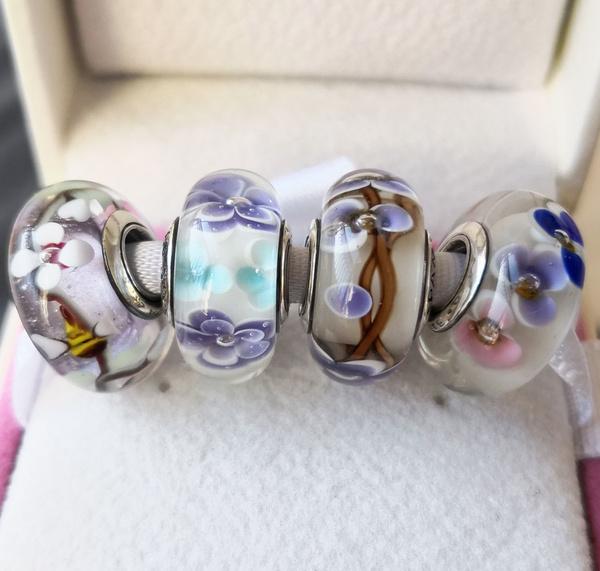 Charm Bracelet, charms for pandora bracelets, pandoraglassbead, Spring