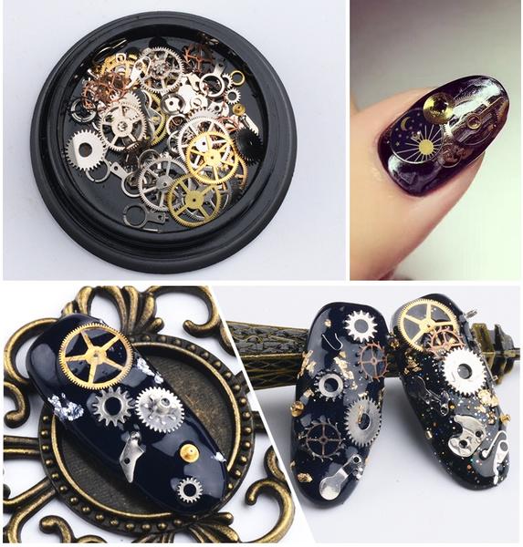 Box, nail decoration, art, punk style