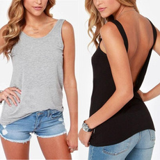 blouse, Elastic, blacktshirt, backlesssleevele