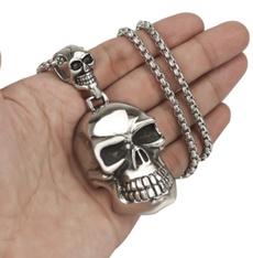 Steel, Stainless, skullnecklace, Men  Necklace