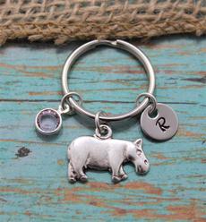 initial, Key Chain, Jewelry, hippopotamu