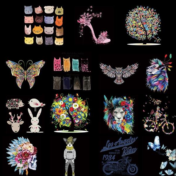 cute, butterflydesign, Stickers, flowerskullpattern