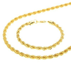yellow gold, Rope, necklacebracelet, twistedropechain