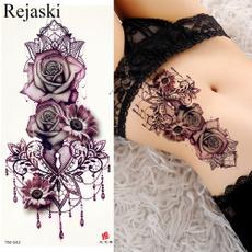 tattoo, Flowers, art, Waist