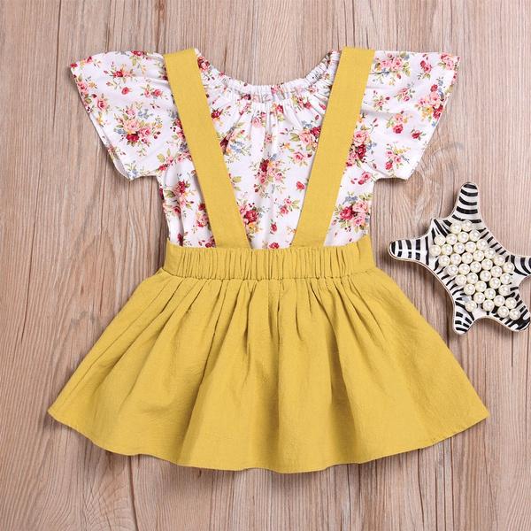 Toddler, Floral print, babyromper, suspenderdres