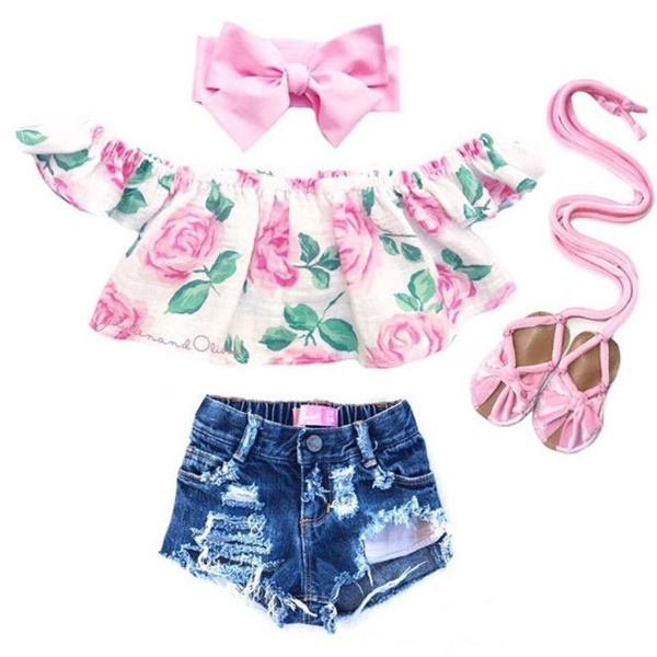 Baby Girl, Flowers, off the shoulder top, babygirlsoutfit