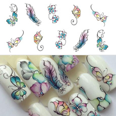 Nails, nail decals, Flowers, Butterflies