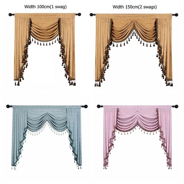 Room Swag Valances Rod Pocket, Swag Curtains For Living Room