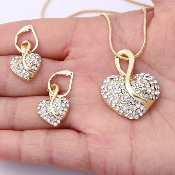 Heart, Necklaces Pendants, gold plated earrings, gold