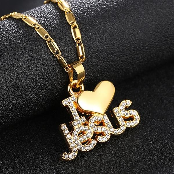 Women Fashion I Love Jesus Pendant Necklace  Wish-9318