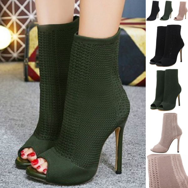 Women's Boots Elastic Knit Stretch Sock