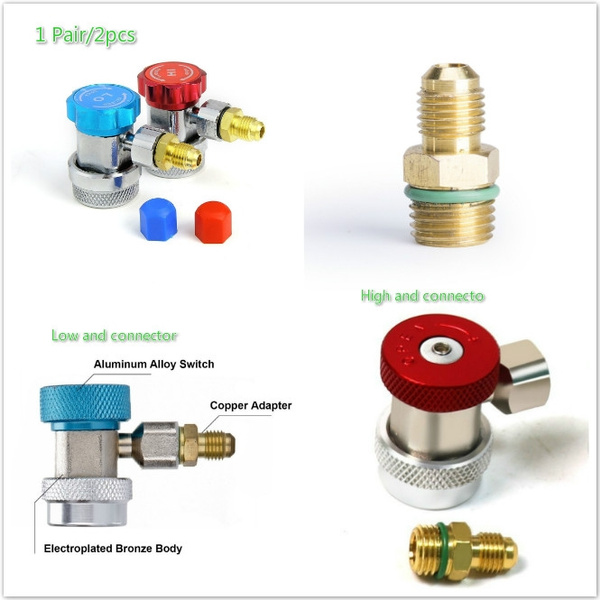 R134A JDMON Adjustable AC R134A Quick Coupler Connector Adapters Fitting High Low 1//4 inch SAE HVAC Manifold Gauge Hose Set