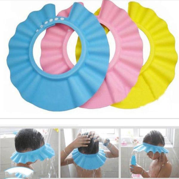 Soft Baby Kids Children Bath Shower Cap Adjustable Baby Shower Hat Baby Shampoo Cap Wish