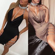 Deep V-Neck, Mini, Shorts, Evening Dress