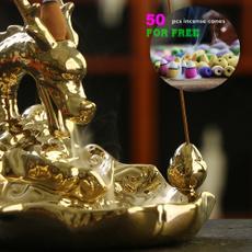 golden, Decor, Home Decor, dragonincenseburner