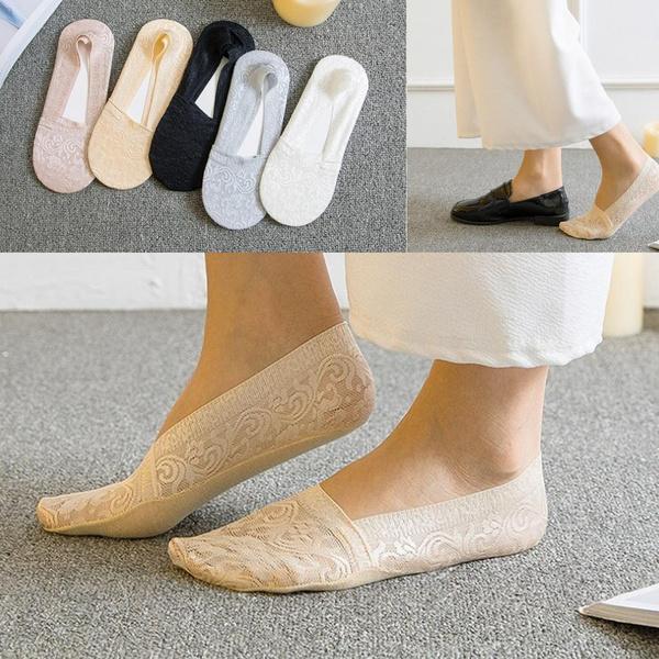Cotton Socks, Cotton, Lace, invisiblesock