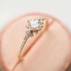 Sterling, Wedding, DIAMOND, Rose Gold Ring