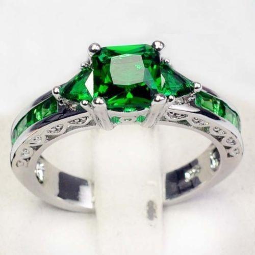 Sterling, DIAMOND, emeraldring, 925 silver rings