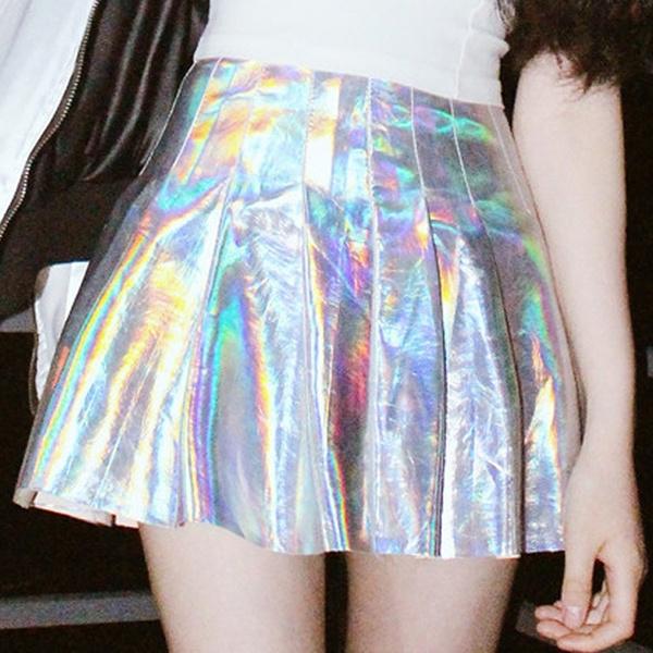 shortpleatedskirt, Fashion, Laser, metallicskirt
