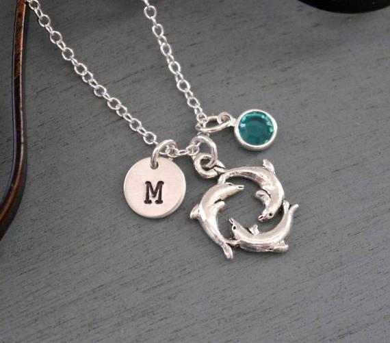 birthstonenecklace, dolphinsnecklace, Jewelry, dolphinjewelry