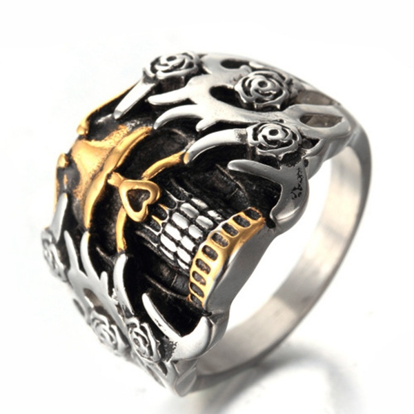 Goth, Stainless Steel, Men, punk rings